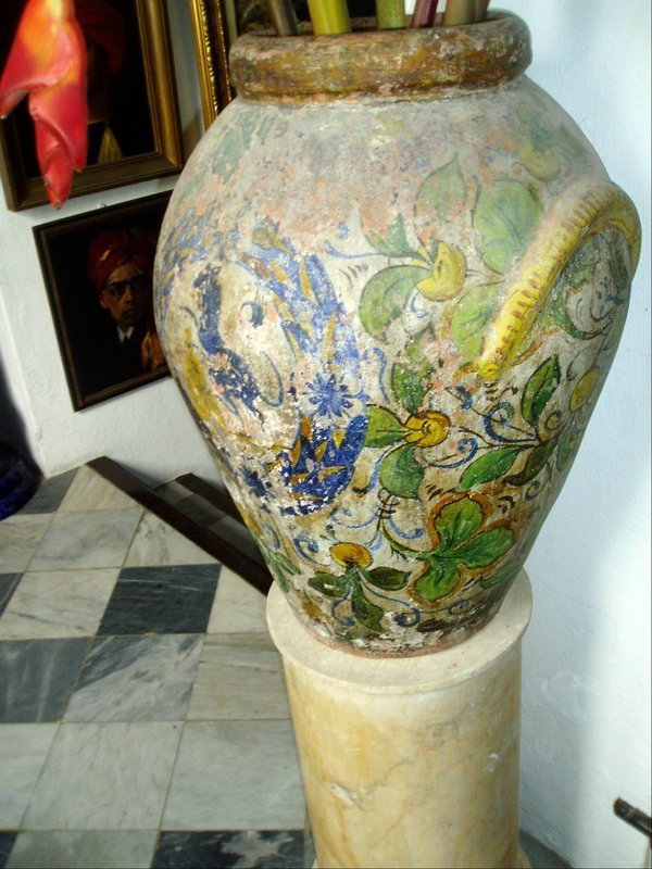 Early 19thc Painted Lge Jar Spanish