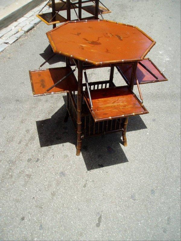 19thc Japanese Hexagon  Bamboo Tea Table Lacquered