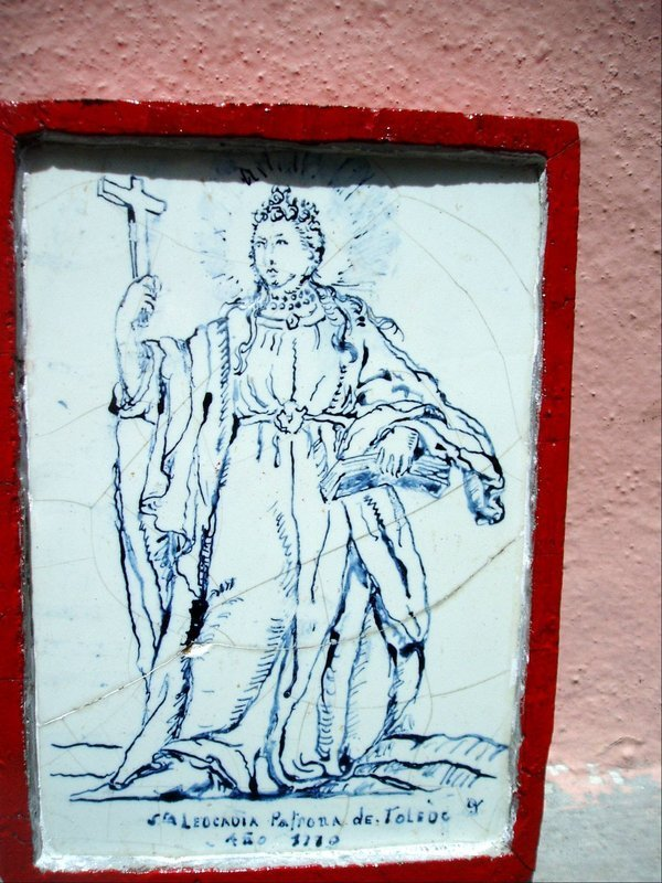 Spanish 18thc Rare Tile of St Leocardia  Blue White