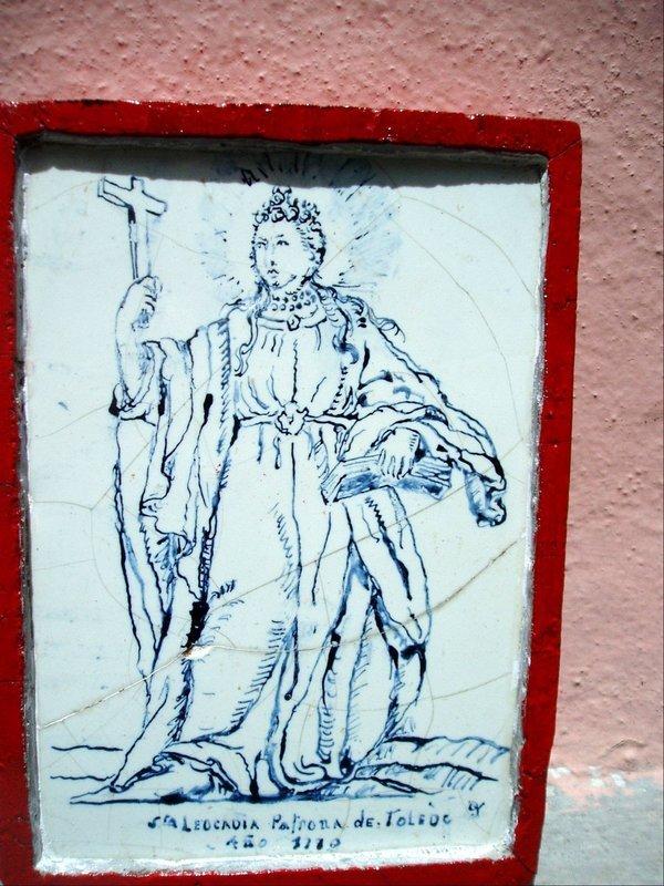 Spanish 18thc Rare Tile of St Leocardia  Blue White
