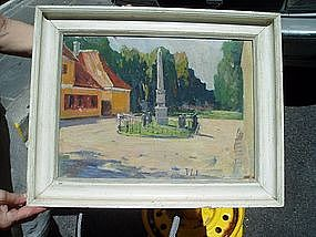 Danish Village Square Oil Painting 1940s