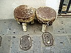 Two African Drums  Cowskin Tops