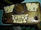 Early 19thc Chinese Ivory and Bronze Desk Brush Set