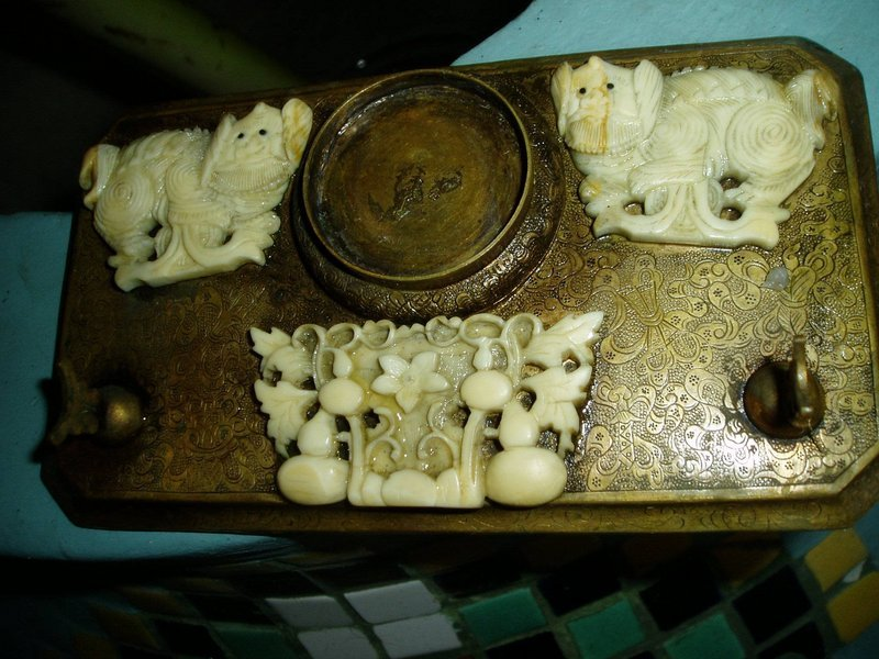 Early 19thc Chinese Ivory and Bronze Desk Brush Set
