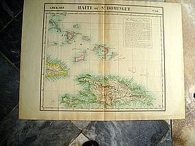 19thc Flemish West Indies Map Bahamas, St Domingo 1812