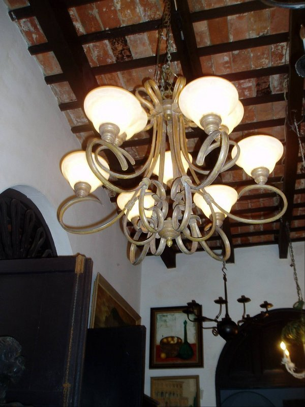 Wrought Iron Nine-Light Chandelier-Glass Shades 1920s