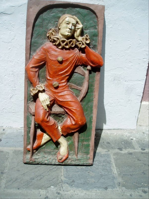 Bas Relief Spanish Clown ca 1940s Sgnd