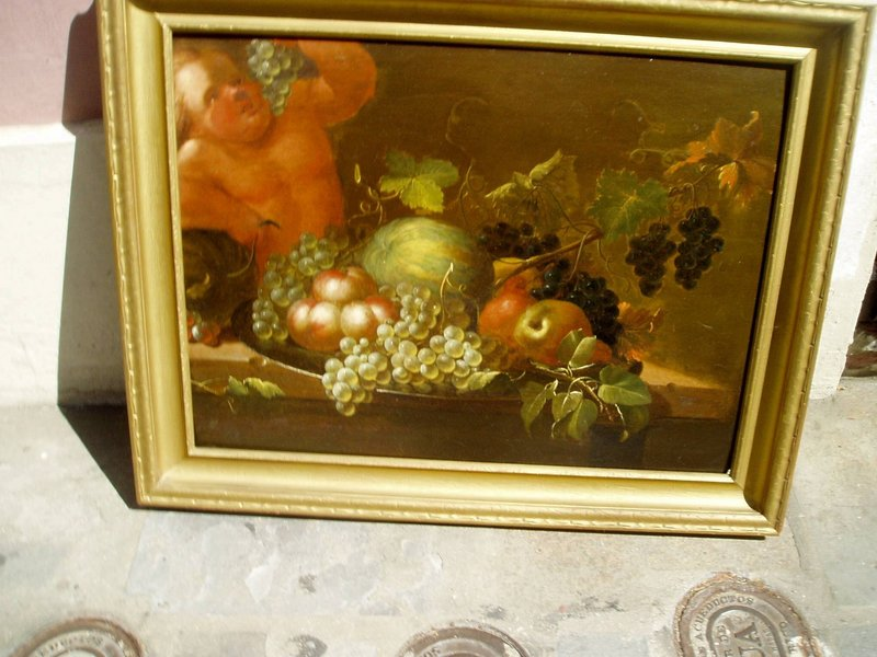18thc Italian Still Life with Bacchus on Wood Panel