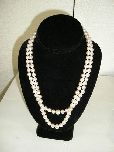 """CARTIER double strand AKOYA Cultured Pearl  NECKLACE marked """"CARTIER"""""""