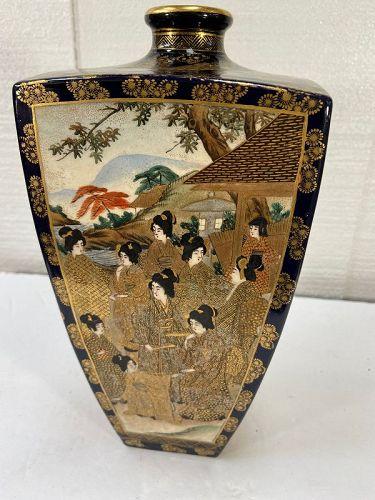 Antique large Japanese Satsuma vase by HODODA cobalt blue 4 panel mark