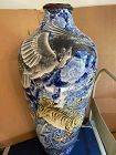 Antique Japanese very large vase with Eagle & tigers no marks.