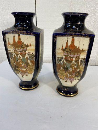Antique pair of Satsuma cobalt blue vases matching pair good condition
