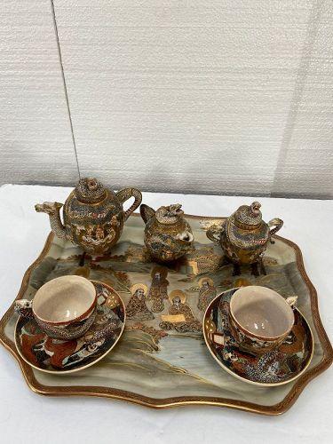 Antique Japanese Satsuma coffee set or tea set marks perfect condition