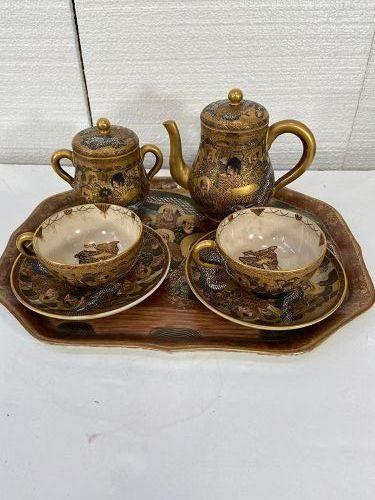 Antique Japanese Satsuma tea set with a Satsuma tray good condition