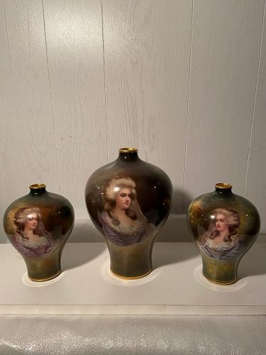 Antique Royal Bonn  portrait vases a set of 3 signed perfect condition