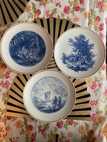 A set of 3 large Meissen  plates signed  & dated in perfect condition.