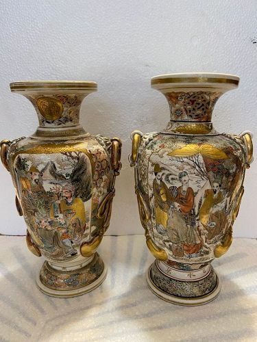 Pair of antique Japanese  Satsuma vases
