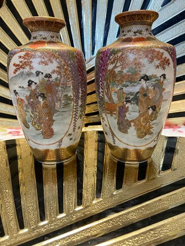 Antique pair of Japanese Satsuma vases,