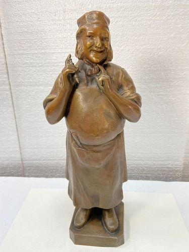 Antique French bronze statue of a Baker by FR. artist ARISTIDE MAILLOL