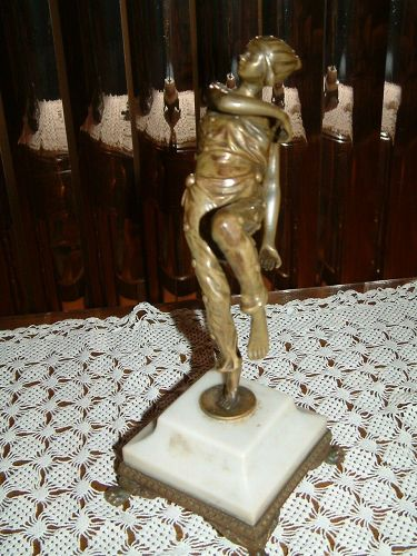 Antique German bronze statue ART DECO of a lady dancer by ERNST SEGER