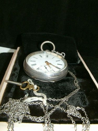 Antique British sterling silver 0.936 open face pocket watch runs OK