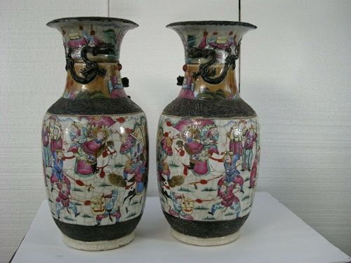 Antique large  pair of Chinese vases with raised Dragons marks on base
