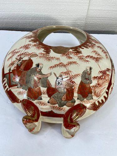Antique Japanese Kutani, large basket shape vase.