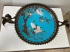 Large antique Japanese cloisonne bronze charger, mounted 2 fire birds.