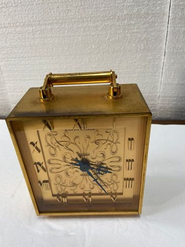 French Brass desk clock, Black, Starr & Gorham, heavy & works perfect.