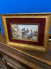 European framed miniature painting Roman scene slave trader & Emperor.