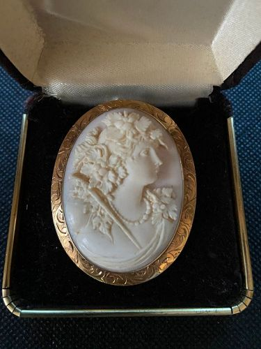 Lovely 14K Gold Cameo Coral carving, brooch & pendant of a  lady.