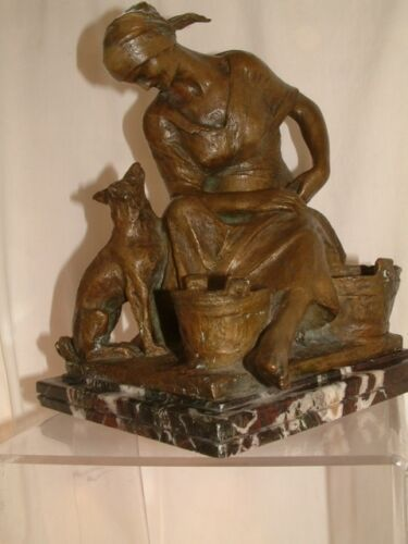 Antique original Italian bronze by Alfonso Mazzuchelli farm woman&dog.