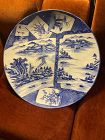 Antique Japanese blue and white very large charger, marks on back.