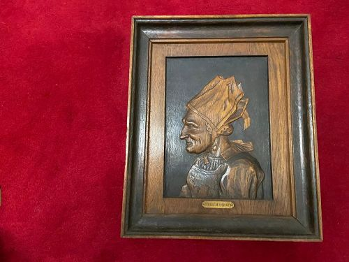"""French framed wood carving of an elderly woman signed """"Claudel"""""""