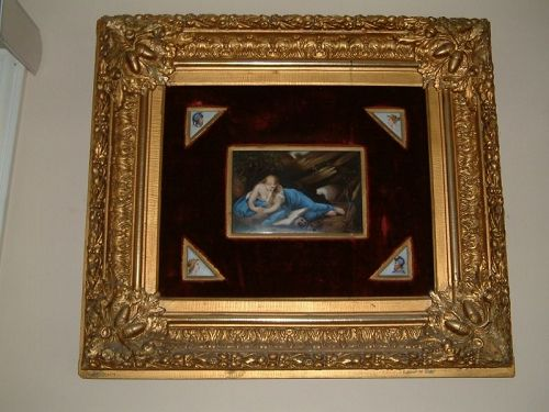 FRAMED ANTIQUE KPM PORCELAIN PLAQUE OF MARY MAGDALENE SIGNED BY WAGNER