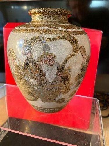 18th century Satsuma Museum quality vase made by ONISHI SUIGETSU.