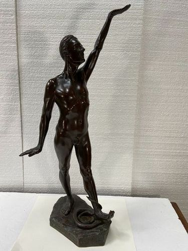 ART DECO AMERICAN BRONZE OF A  NUDE MALE BY A LISTED ARTIST KARL SKOOG
