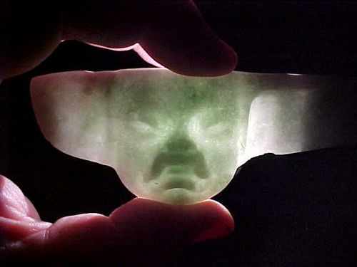 Phenomenal Olmec Translucent Blue Jade Spoon