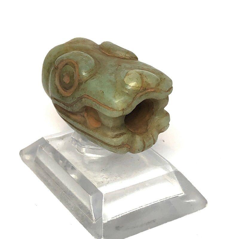 Pre-Columbian Mayan Translucent Jade Serpent Tube Pipe COA w/vid