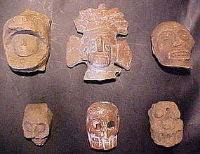 Pre-Columbian Ceramic Heads from Mexico Ex.Heflin