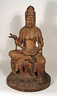 Large Chinese Carved Wood Figure of Guanyin