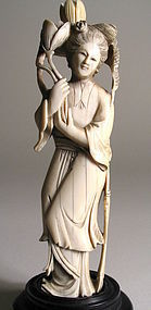 Carved Chinese Ivory Figure of Maiden, Early 20th C.