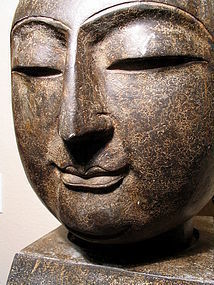 A Large, Finely Sculpted Stone Buddha Head