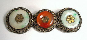 Antique Chinese Jade and Carnelian Filigree Pin, Qing