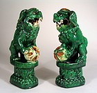 Early Pair Antique Chinese Pottery Foo Dogs, Qing