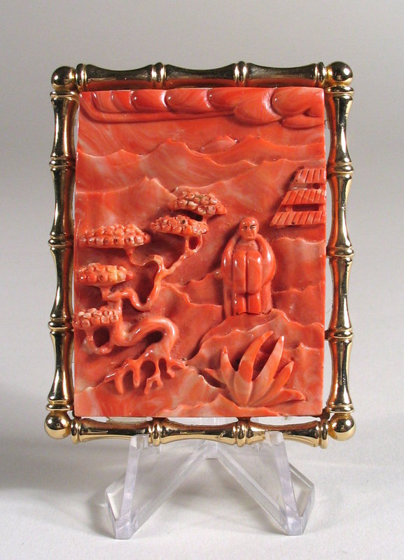 Chinese Carved Pink Coral Brooch / Pendant