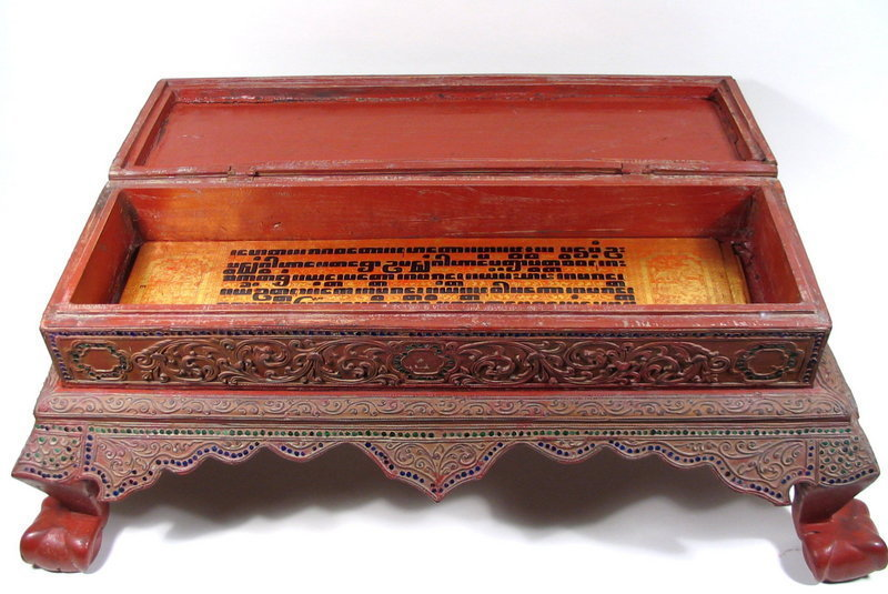 Superb Burmese Lacquer Manuscript Box, 19th C.