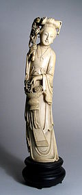 Large Chinese Ivory Carving of Maiden with Flowers