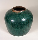 Antique Chinese Teal Glazed Pottery Jar