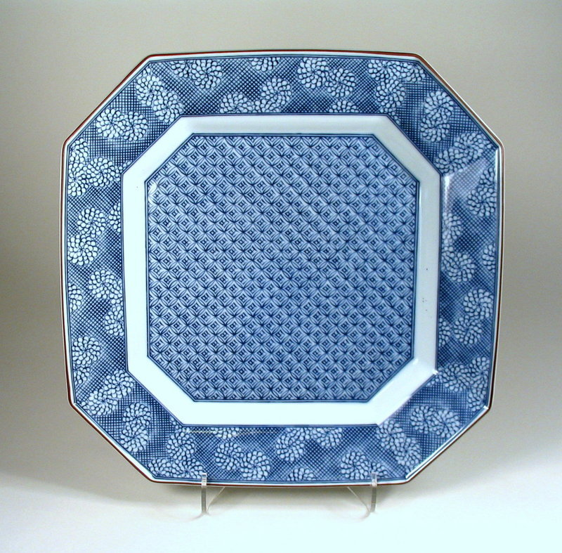 Square Japanese Blue and White Porcelain Platter